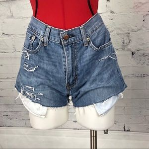 Levi's 505's High Waisted Distressed Shorts   1737